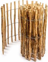 Floranica® - geïmpregneerde schapenhek in 14 maten, met goed gespleten, gelijke staven en veilige punten als een tuinhek, hek, vijver hek, houten hek. Soort: Hazelaarhout (Corylus avellana L) - Lengte: 5m, palenafstand 8-10cm, Hoogte 90cm