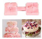 Fondant Vierkant Roosje Mal - Siliconen Bloemen vorm - Fondant / Marsepein / Chocolade / Zeep Roos - Voor decoratie van taart, cupcakes en cake