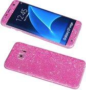 Xssive Glitter Sticker voor Samsung Galaxy S7 Edge G935 Pink - Roze Duo Pack - 2 stuks