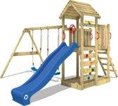 WICKEY MultiFlyer Blauw - Speeltoestel met houten dak