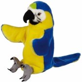 Handpop blauw/gele ara/papegaai pluche 25 cm