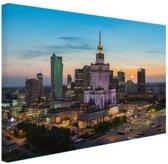 Zonsondergang Warschau Canvas 60x40 cm - Foto print op Canvas schilderij (Wanddecoratie woonkamer / slaapkamer) / Steden Canvas Schilderij