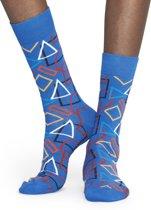 Happy Socks Geometric Sokken - Blauw/Rood/Wit - Maat 36-40