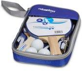 relaxdays Tafeltennis set 2 sterren - 2 batjes - 3 ballen - tafeltennisnet - blauw
