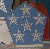 Houten Sterren - Decoratie - Set van 6