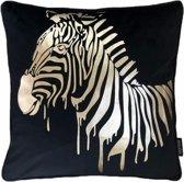 Velvet Zebra Zwart Kussenhoes | Fluweel - Polyester | 45 x 45 cm | Goud