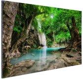 Erawan Waterval in jungle Thailand foto Aluminium 60x40 cm - Foto print op Aluminium (metaal wanddecoratie)