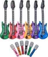 relaxdays 12-delige rocker set, 6 luchtgitaren, 6 opblaasbare microfoons, voor kinderen