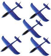 5 x Zweefvliegtuig foam wegwerp blauw   kinderfeestje speelgoed verjaardag   mega pakket vliegtuigen