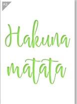 Hakuna Matata sjabloon - Kunststof A3 stencil - Kindvriendelijk sjabloon geschikt voor graffiti, airbrush, schilderen, muren, meubilair, taarten en andere doeleinden