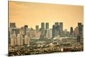 Oranje zonsondergang boven Manila Aluminium 60x40 cm - Foto print op Aluminium (metaal wanddecoratie)