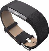 Bandje Leather - Zwart geschikt voor Fitbit Charge 2