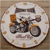 Houten klok motor Racing team speedway 33 cm