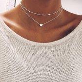 Layer ketting met hartjes hanger | Hanger ketting | Zilverkleurig