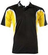 KWD Polo Fresco korte mouw - Zwart/geel/wit - Maat S