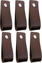 Leren handgrepen - Bruin - 6 stuks - 16,5 x 2,5 cm | incl. 3 kleuren schroeven per leren handgreep