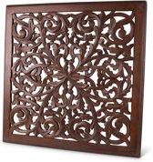 Wandpaneel houtsnijwerk Bruin Bangladesh 60 x 60cm