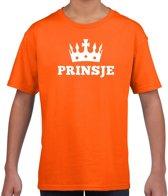 Oranje Prinsje met kroon t-shirt jongens - Oranje Koningsdag kleding M (134-140)