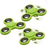 relaxdays 3 x Fidget Spinner - tri-spinner 58g hand spinner - anti-stress speelgoed groen