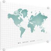 Wereldkaart Groen Plexiglas - Mintgroen - Modern - 90x60 cm