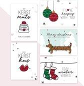 Kerstkaarten 10 stuks - 5 x 2 kaarten - Geluksbrengertje