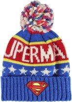 Superman muts voor jongens met pompom - kindermuts