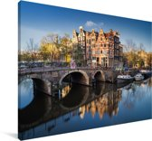 De Prinsengracht tijdens zonsopgang Canvas 120x80 cm - Foto print op Canvas schilderij (Wanddecoratie woonkamer / slaapkamer)
