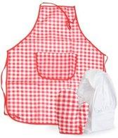 Egmont - Kinderschort, ovenwant & koksmuts - Rood/wit geruit