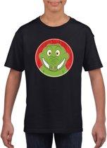 Kinder t-shirt zwart met vrolijke krokodil print - krokodillen shirt XS (110-116)