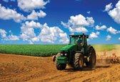 Fotobehang Field Sky Tractor Nature | M - 104cm x 70.5cm | 130g/m2 Vlies