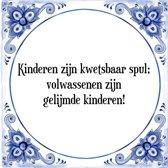 Tegeltje met Spreuk (Tegeltjeswijsheid): Kinderen zijn kwetsbaar spul; volwassenen zijn gelijmde kinderen! + Kado verpakking & Plakhanger