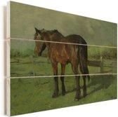 Paard - Schilderij van Anton Mauve Vurenhout met planken 80x60 cm - Foto print op Hout (Wanddecoratie)
