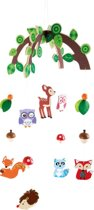 Houten mobiel - Dieren uit het bos - Mobiel voor baby's - Geen muziekmobiel - Eenvoudig te monteren!
