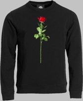 Sweater M Valentijnsdag met een rode roos van liefde op je shirt - Zwart - M - XXXL Sporttrui