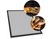 Krumble Barbecue grill mat teflon / 33 x 40cm / Barbecue accessoires / Op maat te knippen / Anti kleef - Zwart