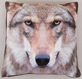 Sierkussen Wolf Print - 40 x 40 cm  - heerlijk zacht fluweel - Kussen met ritssluiting incl. polyester vulling - wolven
