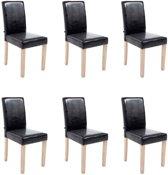Clp Ina - Set van 6 eetkamerstoelen - Kunstleer - Zwart
