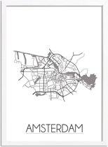 DesignClaud Amsterdam Plattegrond poster A3 + Fotolijst wit