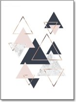 Minimalistic Wall Art - A3 Poster Abstract Marble Triangles II
