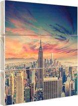 Manhattan met bijzondere lucht Hout 120x80 cm - Foto print op Hout (Wanddecoratie)