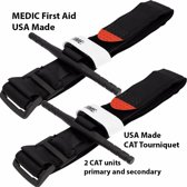 MEDIC First Aid CAT Tourniquet | USA Made | 2 stuks | Survival | Industrie | Buitensport | EHBO | First Aid Kit | Geschikt voor Huis, Auto, Camping, Boot, Op Reis, Sport, Buitensport