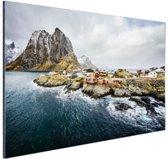 Lofoten landschap Aluminium 120x80 cm - Foto print op Aluminium (metaal wanddecoratie)