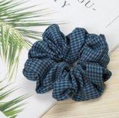 Jumalu ruitjes scrunchie velvet haarwokkel haarelastiekjes - blauw - 1 stuk