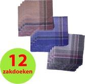 12 Heren Zakdoeken-100% Katoen-40x40cm.-3 kleuren Donker