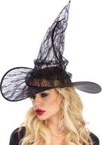Kanten heksen hoed verkleed accessoire zwart - Kostuum Party Halloween - Leg Avenue