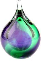 """Glazen urn. Asbestemming. """"Bubble"""" groen-paars. 14 cm hoog."""