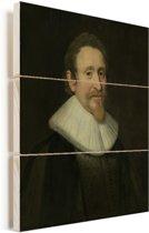 Portret van Hugo de Groot - Schilderij van Michiel Jansz van Mierevelt Vurenhout met planken 120x160 cm - Foto print op Hout (Wanddecoratie) XXL / Groot formaat!