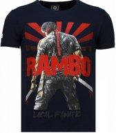 Local Fanatic Rambo Shine - Rhinestone T-shirt - Navy - Maten: M