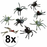 Halloween - Plastic spinnen 10 cm set 8 stuks