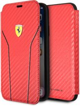 Ferrari Rood On Track Carbon Booktype iPhone X